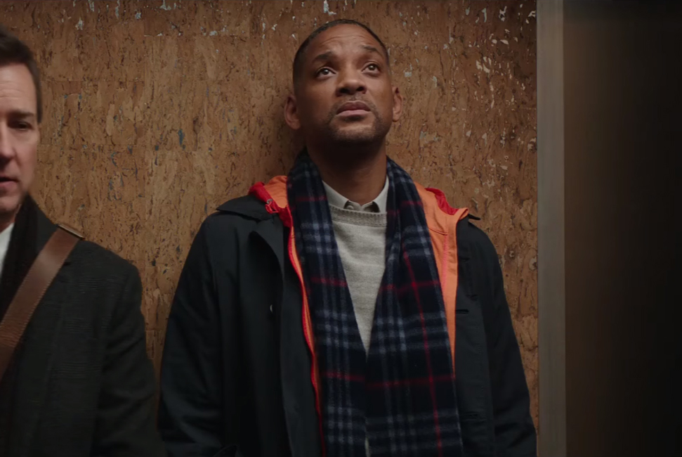 Blue tartan scarf Will Smith in Collateral Beauty (2016)