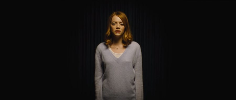Grey pullover Emma Stone in La La Land (2016)