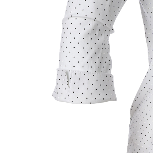 roll up sleeve polka dot shirt