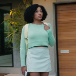 Mint green mini skirt Amandla Stenberg in Everything, Everything (2017)