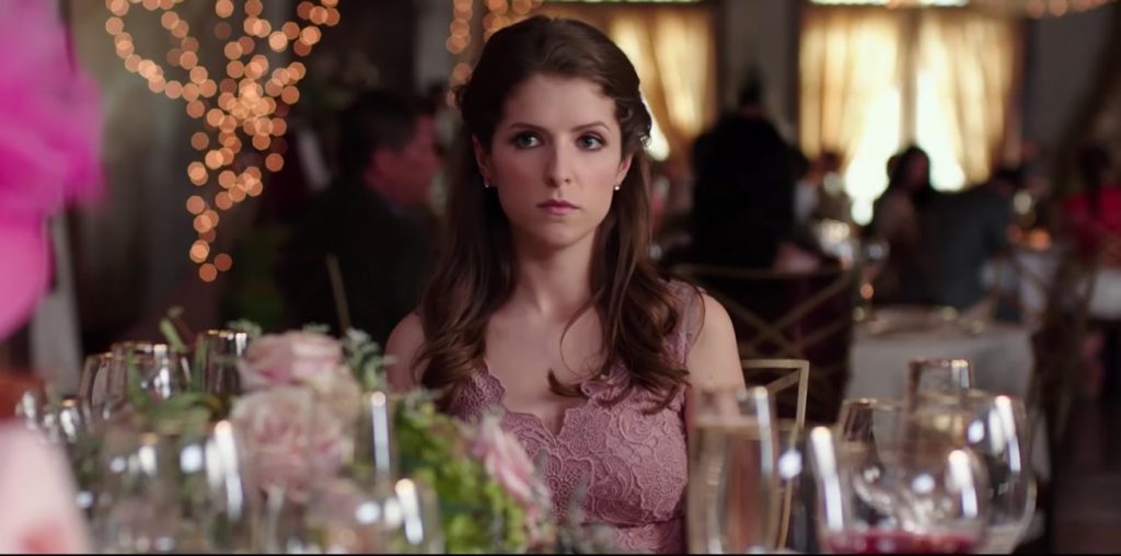 Pink floral dress Anna Kendrick in Table 19 (2017)