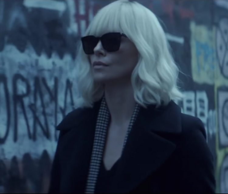 Charlize Theron's black sunglasses in Atomic Blonde (2017)