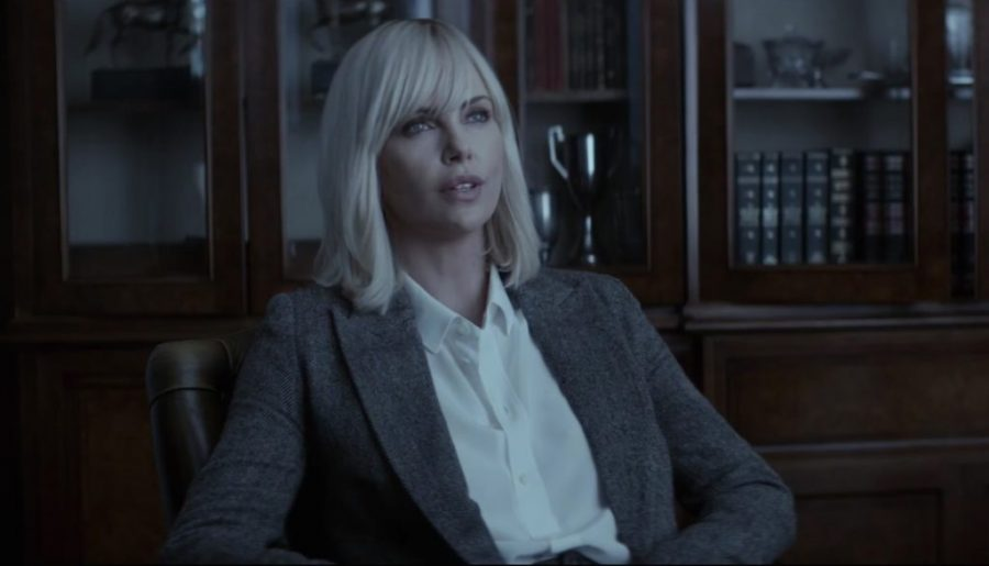 Grey Blazer Charlize Theron in Atomic Blonde (2017)