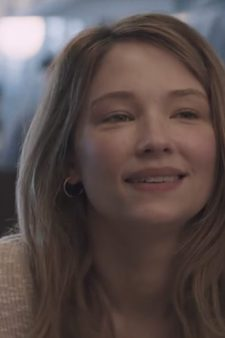 Half hoop earrings Haley Bennett in Thank You for Your Service (2017)