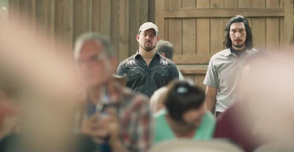 Black skull western shirt Channing Tatum in Logan Lucky (2017)
