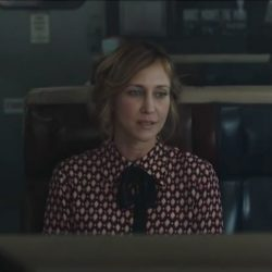 Diamond print shirt Vera Farmiga in The Commuter (2018)