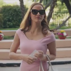 Pink dress Jessica Chastain in Molly's Game (2017)