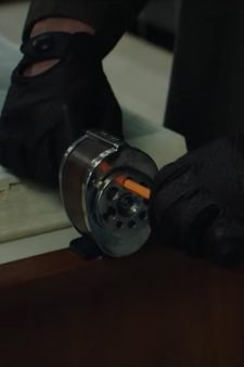 Desk mounted pencil sharpener in American Animals (2018)