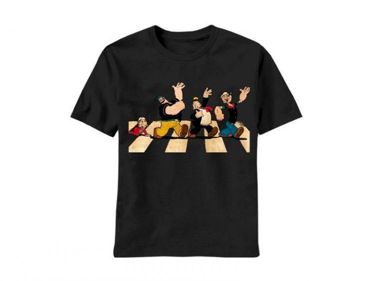 Popeye the Sailor Man Single File Line Adult Black T-shirt