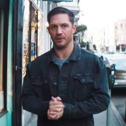 Black denim jacket Tom Hardy in Venom (2018)