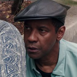Black leather flat cap Denzel Washington in The Equalizer 2 (2018)