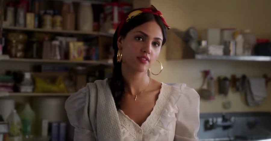 Large golden hoop earrings Eiza González in Welcome to Marwen (2018)