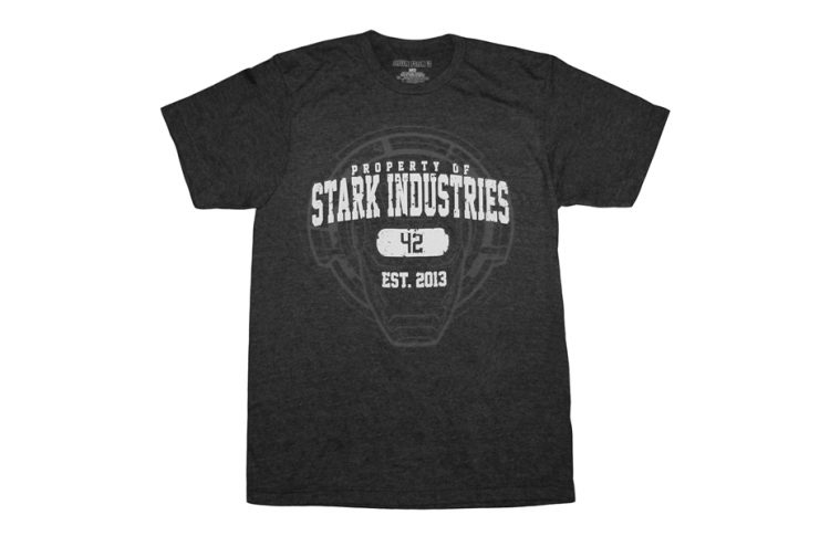 Iron Man Property of Stark Industries Adult Charcoal Heather T-shirt