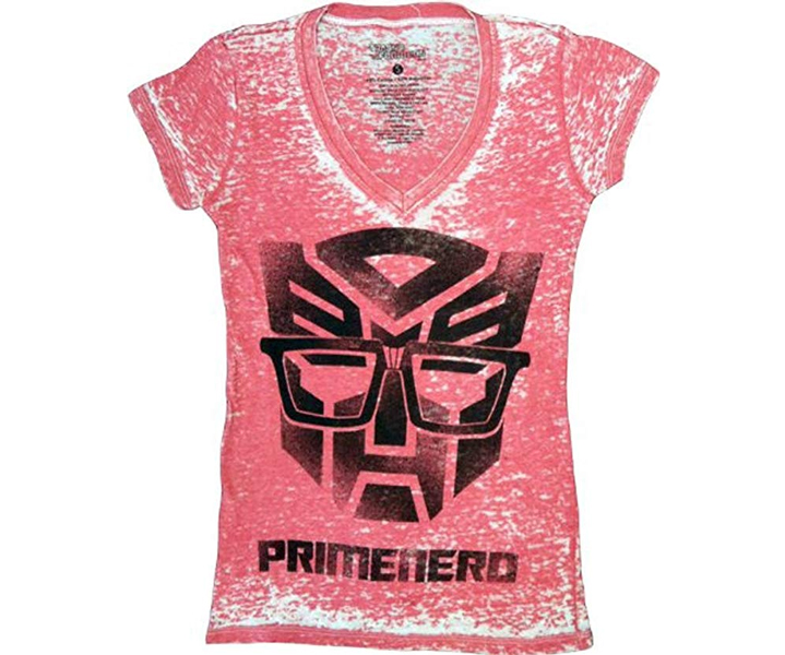 Transformers Primenerd Red V-Neck Juniors T-shirt