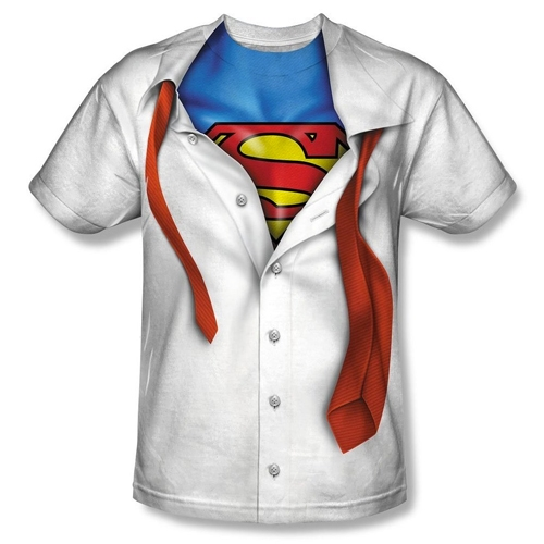 DC Comics Clark Kent I'm Superman Adult Sublimated White T-Shirt