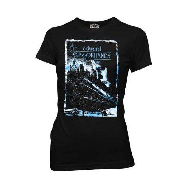 Edward Scissorhands Movie Poster Black Juniors T-shirt