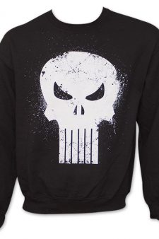 Marvel Comics The Punisher Logo Skull Black Crew Sweatshirt