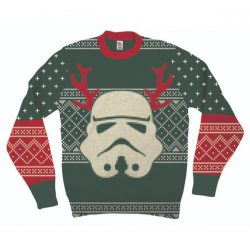 Star Wars Stormtrooper With Reindeer Antlers Adult Green Ugly Christmas Sweater