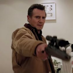The brown jacket that Liam Neeson (Nels Coxman) is wearing in the movie Cold Pursuit (2019).