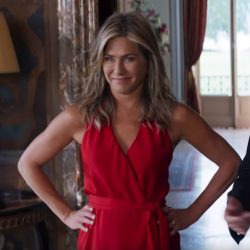 Red wrap dress Jennifer Aniston in Murder Mystery