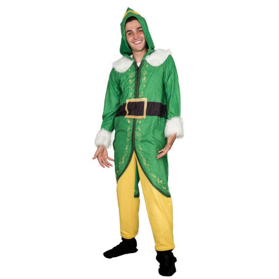 Buddy The Elf Costume Pajama Adult Union Suit - Green - XXL
