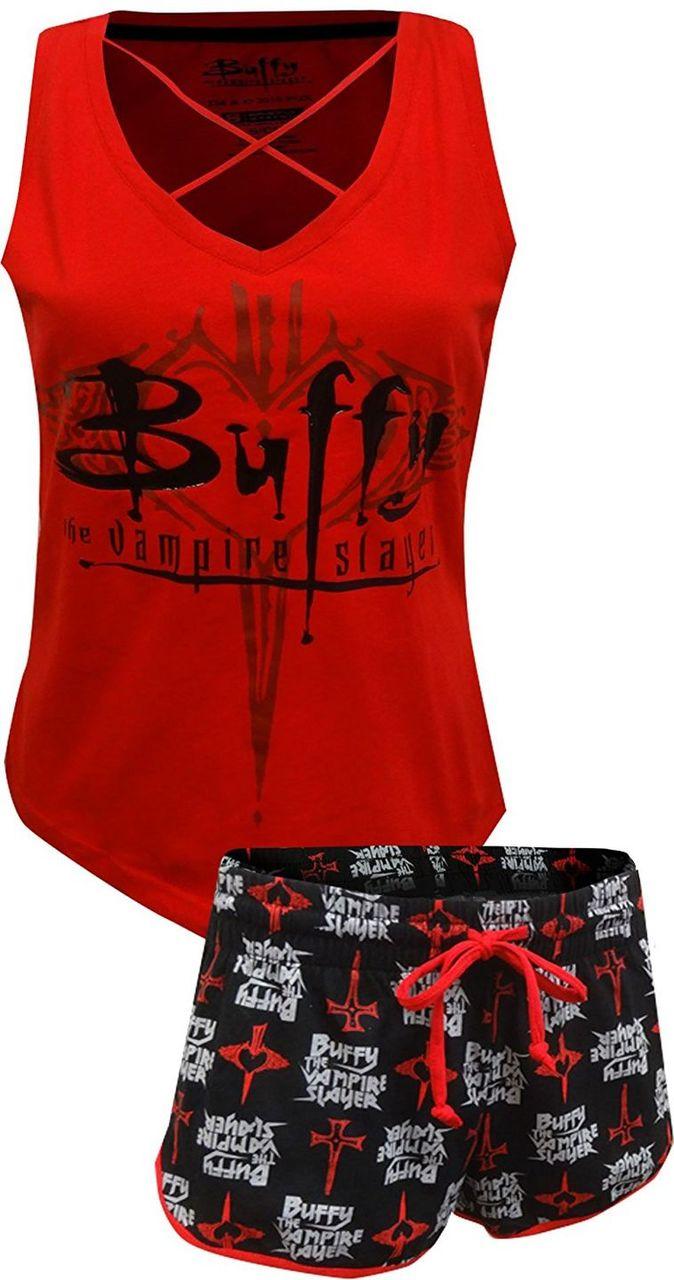 Buffy The Vampire Slayer Women's Pajama Set - Red/Black - XL