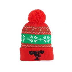 Christmas Vacation Moose Mug Cuff Pom Beanie - Red/Green - One size fits all