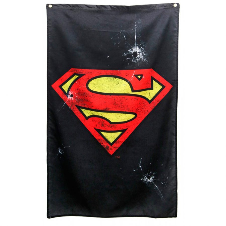 Clark Kent Superman Logo with Bullet Holes Black Banner - Black - One size fits all