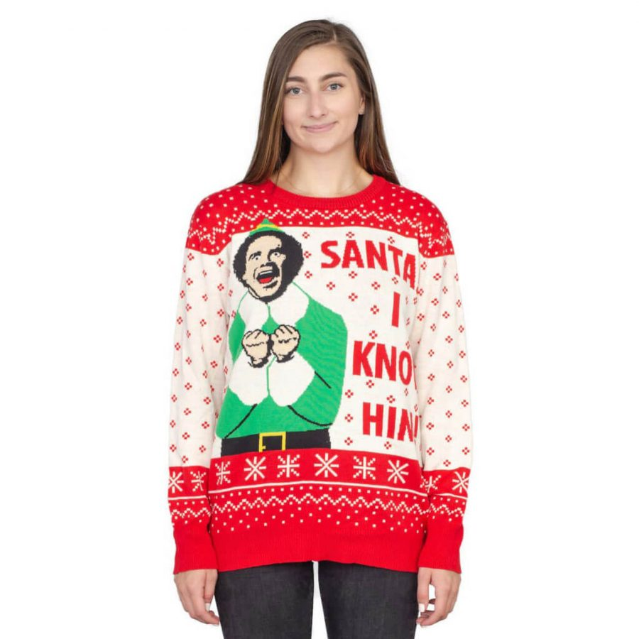 Elf Buddy Santa I Know Him Ugly Christmas Sweater - White - 4XL
