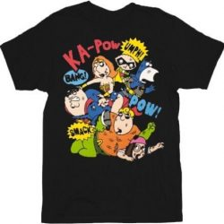 Family Guy Super Brawl Comics Fight T-shirt - Black - 2X