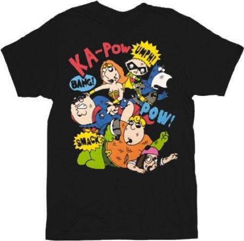 Family Guy Super Brawl Comics Fight T-shirt - Black - 2X