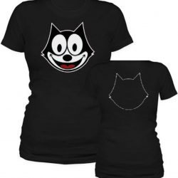Felix the Cat Face Outline T-shirt - Black - XL