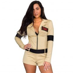 Ghostbusters Womens Sexy Costume with 4 Interchangeable Name Patches - Khaki - XL