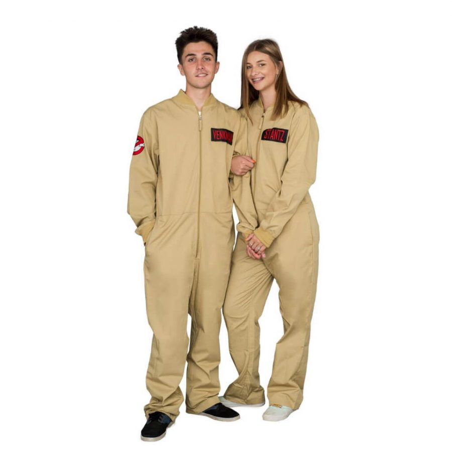 Ghostbusters Zip up Jumpsuit with 4 Attachable Patches - Khaki - 3XL