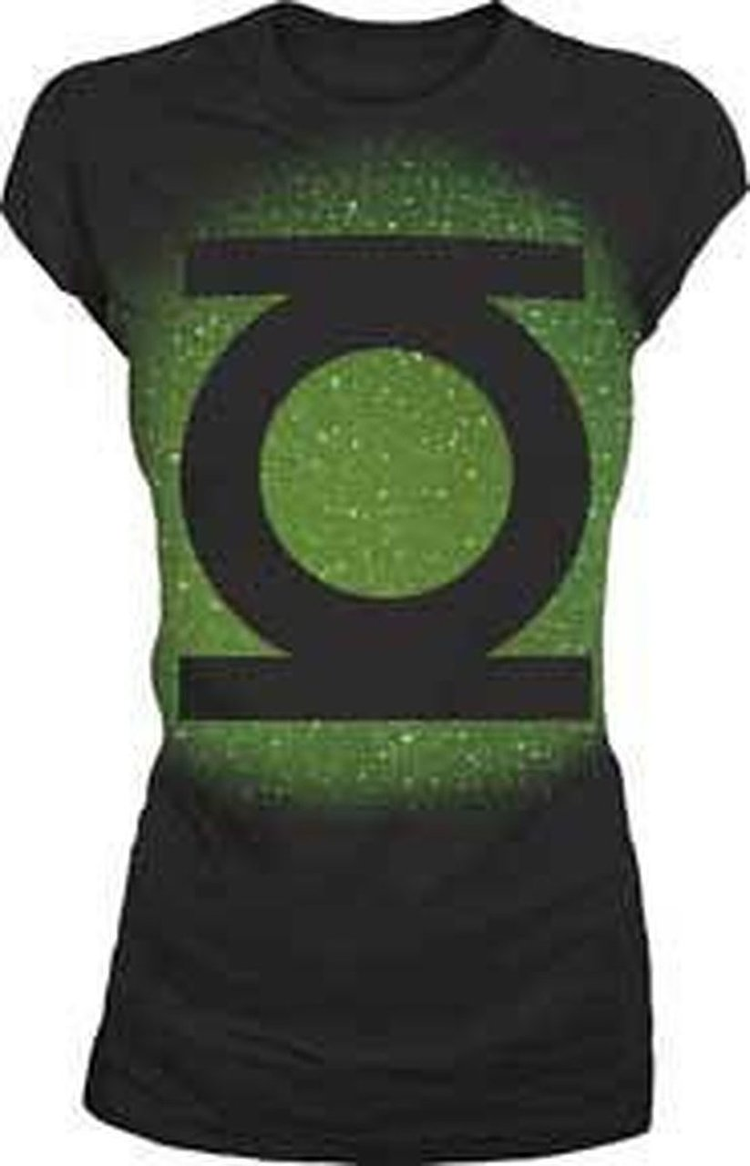 Green Lantern Big Green Emblem Glow T-shirt - Black - XL