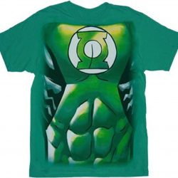Green Lantern Muscle Costume Print T-shirt - Green - 3X