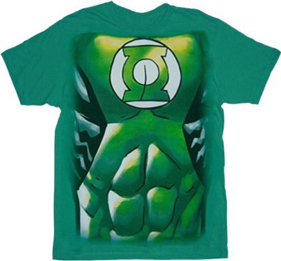 Green Lantern Muscle Costume Print T-shirt - Green - 3X