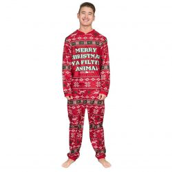 Home Alone Merry Christmas Ya Filthy Animal Union Suit - Red - XXL