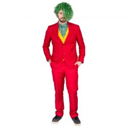 Joker Psycho Clown Costume Set - Red - XXL