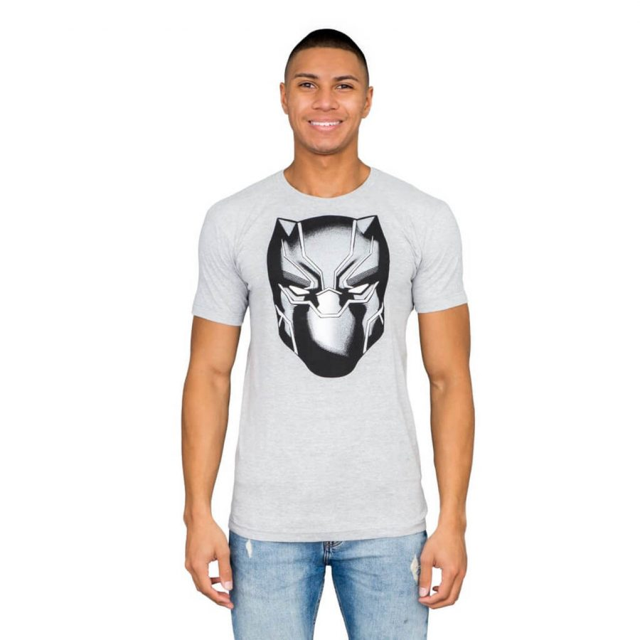 Marvel Comics Black Panther Headshot Heather Gray T-shirt - Gray - 3X