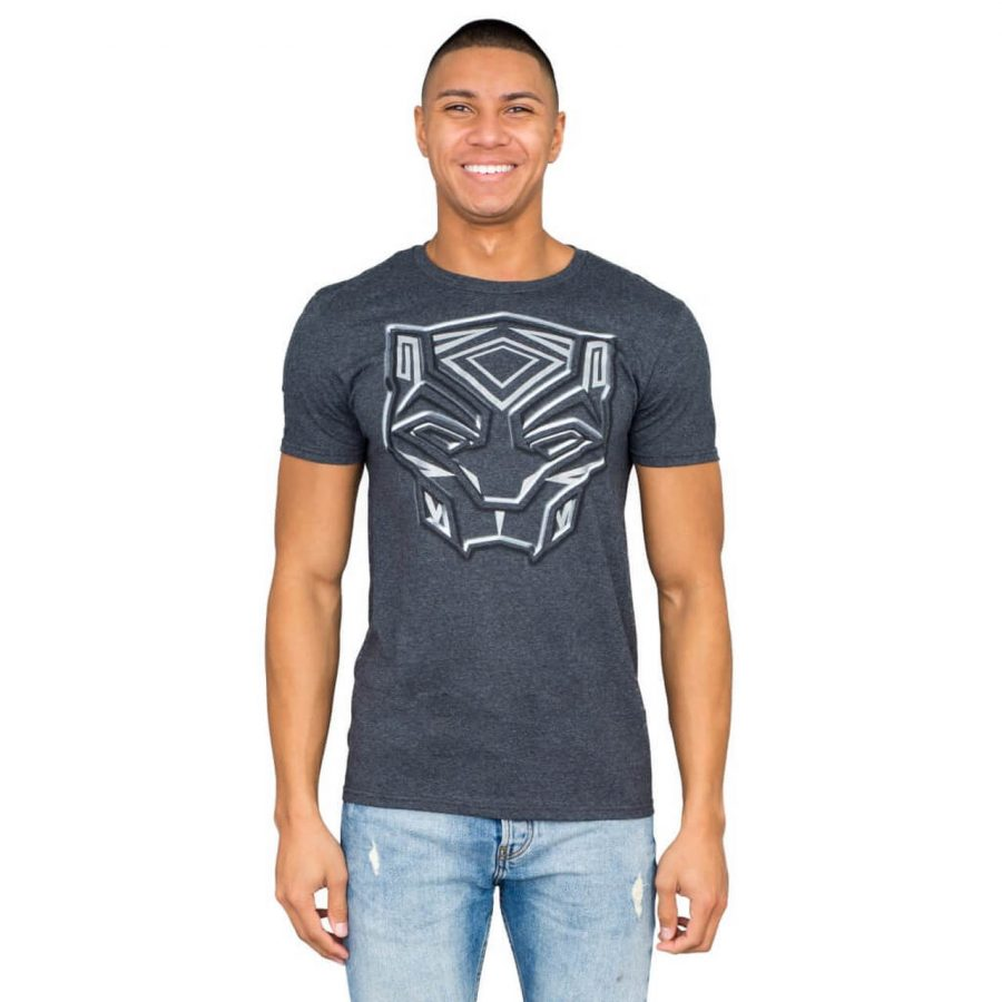 Marvel Comics Black Panther Metallic Ink Charcoal T-shirt - Charcoal - 3X