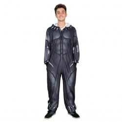 Marvel Comics Black Panther One Piece Pajama Suit - Black - 2XL