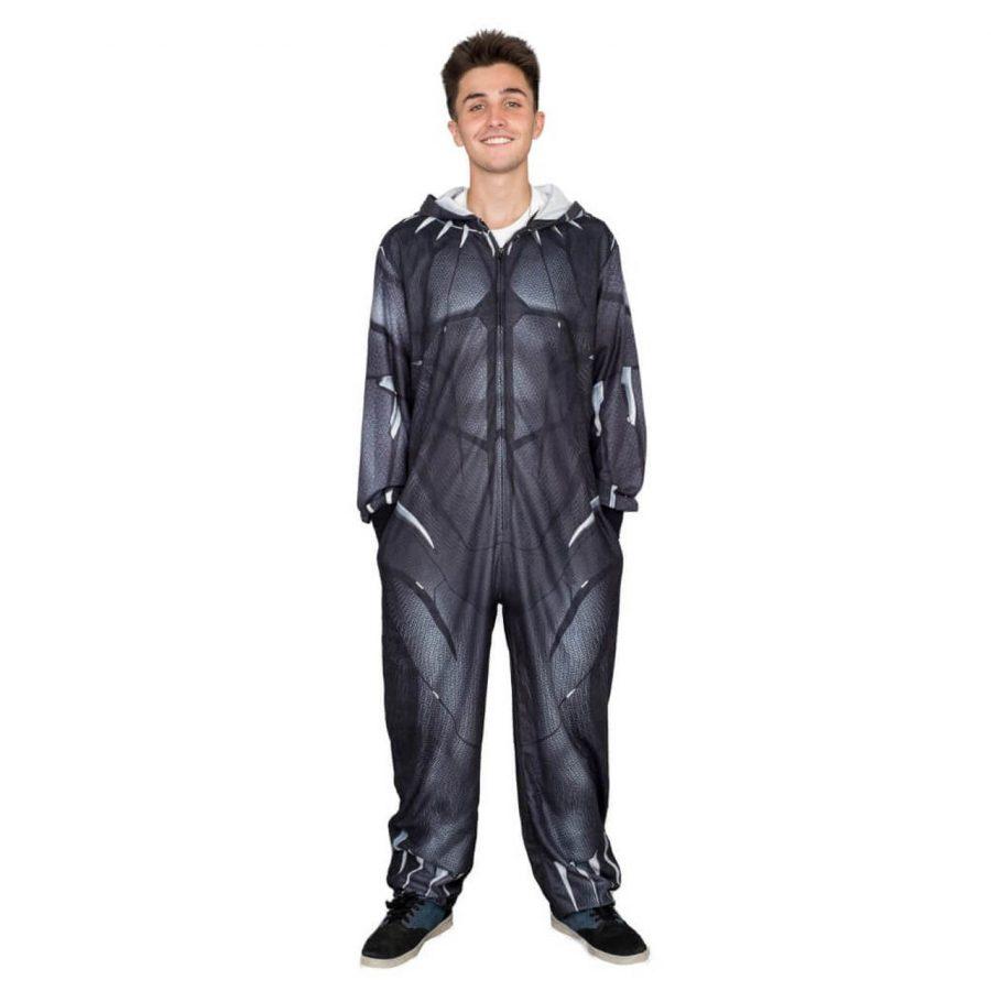 Marvel Comics Black Panther One Piece Pajama Suit - Black - 2XL