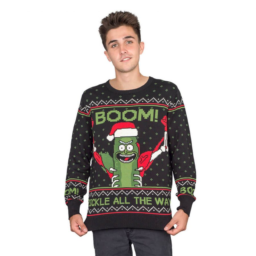 Rick and Morty Boom! PickleRick Adult Ugly Christmas Sweater - Black - 4XL