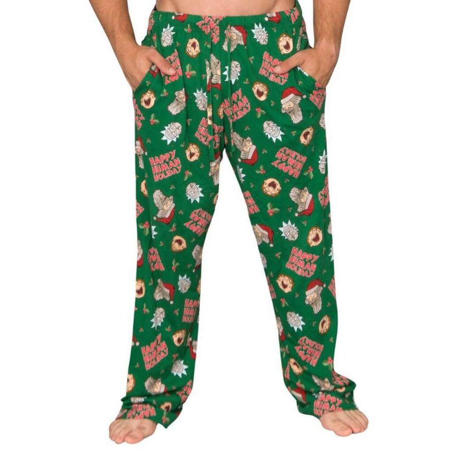Rick and Morty Happy Human Holidays Lounge Pants - Green - XXL