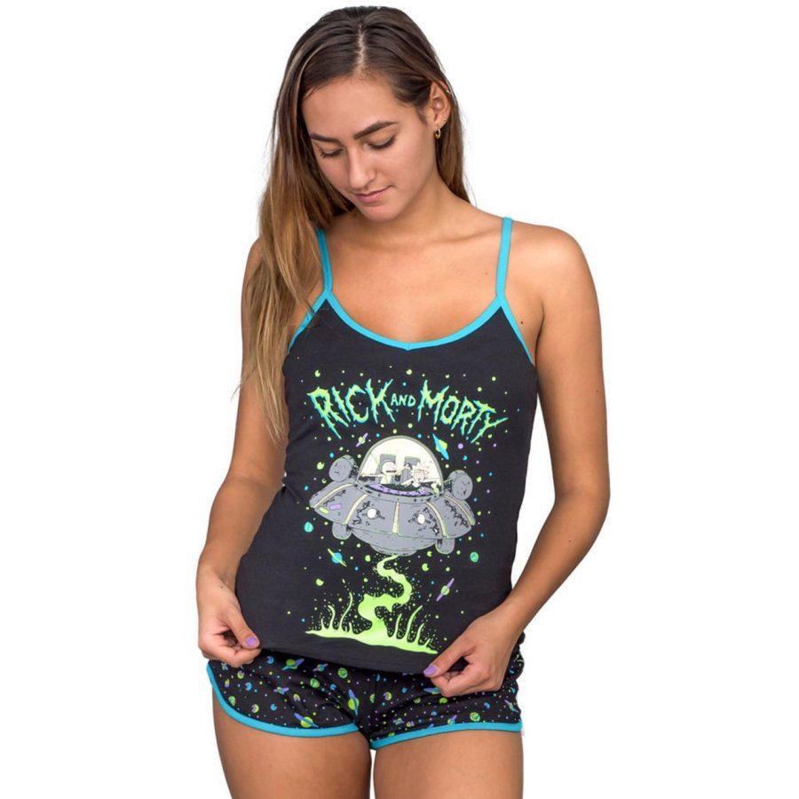 Rick and Morty Spaceship Black Pajama Set - Black - XXL