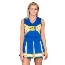 Riverdale Cheerleader V-Neck Tank & Skirt Set - Blue/White/Yellow - XL
