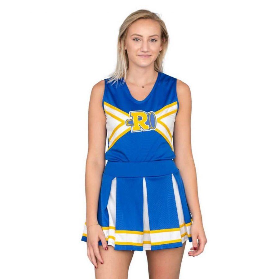 Riverdale Cheerleader V-Neck Tank & Skirt Set - Blue/White/Yellow - XL
