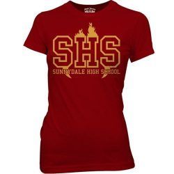 SHS Sunnydale High School Maroon Juniors T-shirt - Maroon - XL