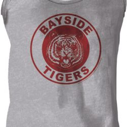 Saved By The Bell Bayside Tigers Logo Heather Gray Men's Tank Top - Gray - 2X
